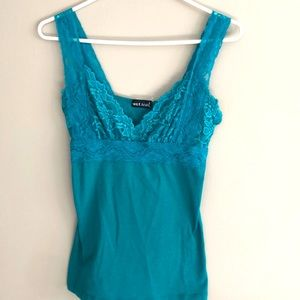 Lace Top fitted through torso in deep aqua